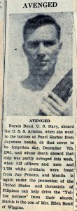 Burnis Bond USS Arizona
