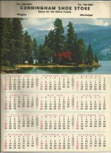 Cunningham Shoe Store Calendar